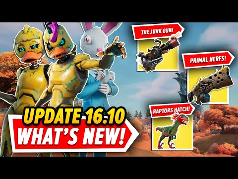 Fortnite Update 16.10 EVERYTHING You Need To Know In UNDER 4 MINUTES (Raptors, PRIMAL NERF & More!)